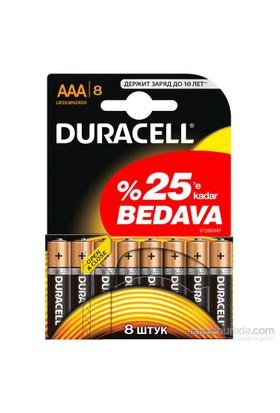 Duracell Alkalin AAA İnce Kalem Pil 8'li Paket