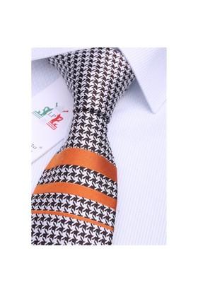 La Pescara Silk Turuncu Çizgili İpek Kravat İk205