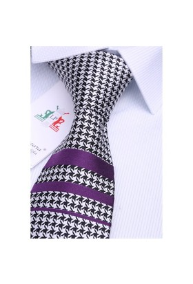 La Pescara Silk Mürdüm Çizgili İpek Kravat İk208