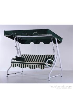 Erinöz Bahçe - Balkon - Teras Salıncağı , 2 Kişilik, 140 Cm, Ø51'lik Sabit Salıncak Beyaz Renk (Panama Lüks Kumaş)