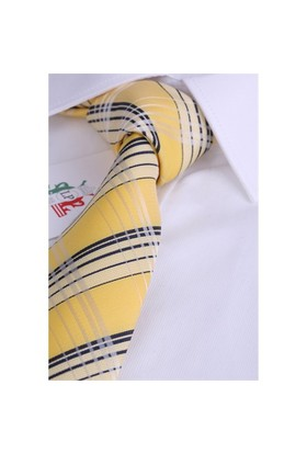 La Pescara Sarı Ekose Desen Klasik Kravat Ek1861
