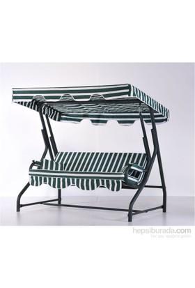 Erinöz Bahçe - Balkon - Teras Salıncağı , 3 Kişilik, 200 Cm, Ø51'lik Sabit Salıncak Yeşil Renk (Standart Kumaş)