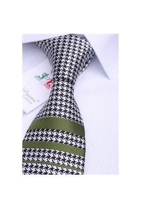 La Pescara Silk Yeşil Çizgili İpek Kravat İk213