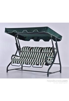 Erinöz Bahçe - Balkon - Teras Salıncağı , 3 Kişilik, 200 Cm, Ø60'lık Yatarlı Paşa Salıncak Yeşil Renk (Panama Lüks Kumaş)