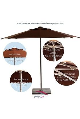 Şemsiye Evi 3 Mt Yuvarlak Avakado Klips Bahçe Şemsiyesi 60-2120-30