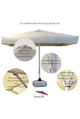 Şemsiye Evi 3X3 Mt Kare Avakado Bahçe Şemsiyesi Ithal Kumaş 60-2021-30-S