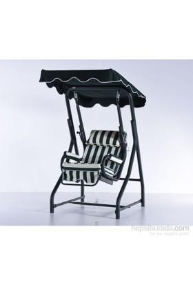 Erinöz Bahçe - Balkon - Teras Salıncağı , Tek Kişilik, 100 Cm, Ø51'lik Yatarlı Salıncak Yeşil Renk (Panama Lüks Kumaş)