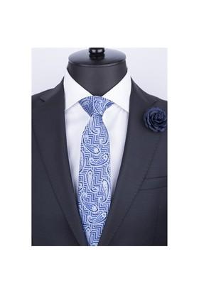 La Pescara Mavi Şal Desen Klasik Kravat Şk3045