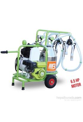 Barbaros Benzinli Model Çift Sağım Tek Güğüm Süt Sağma Makinesi 70'Lik Kuru Pompa 40 L Krom Güğümlü Silikon Memelikli