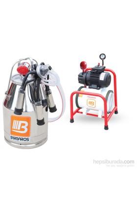 Barbaros Sabit Model Tek Sağım Tek Güğüm Süt Sağma Makinesi 70'Lik Kuru Pompa 30 L Krom Güğümlü