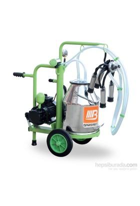 Barbaros Yaprak Model Tek Sağım Tek Güğüm Süt Sağma Makinesi 70'Lik Kuru Pompa 30 L Krom Güğümlü