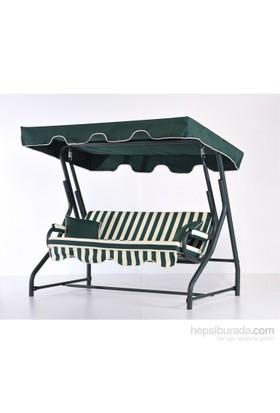 Erinöz Bahçe - Balkon - Teras Salıncağı , 3 Kişilik, 200 Cm, Ø51'lik Sabit Salıncak Yeşil Renk (Panama Lüks Kumaş)
