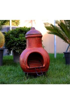 Greenmall Maya Küçük Açık Hava Bahçe Şöminesi + Mangal Kırmızı