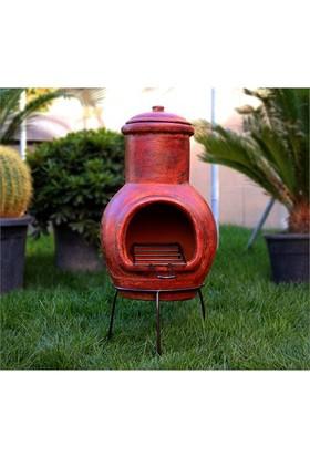 Greenmall Maya Büyük Açık Hava Bahçe Şöminesi + Mangal Kırmızı