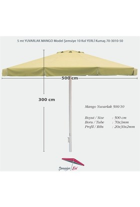 Şemsiye Evi 5 Mt Yuvarlak Mango Bahçe Şemsiyesi Yerli Kumaş 70-3010-50