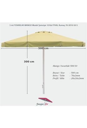 Şemsiye Evi 5 Mt Yuvarlak Mango Bahçe Şemsiyesi İthal Kumaş 70-3010-50-S