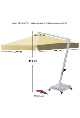 Şemsiye Evi 3X4 Dikdörtgen Yandan Direk Bahçe Şemsiyesi 80-4040-50