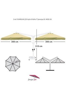 Şemsiye Evi 3 Mt Yuvarlak Çift Açılır Bahçe Şemsiyesi İthal Kumaş 81-4050-30