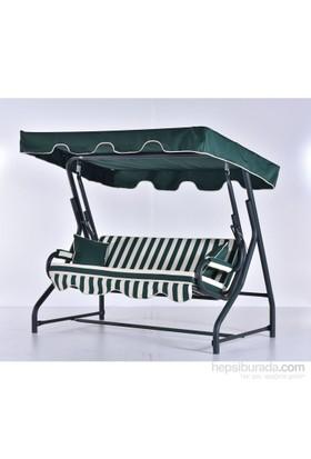 Erinöz Bahçe - Balkon - Teras Salıncağı , 3 Kişilik, 200 Cm, Ø60'lık Yatarlı Salıncak Yeşil Renk (Panama Lüks Kumaş)