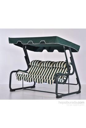 Erinöz Bahçe - Balkon - Teras Salıncağı , 3 Kişilik, 200 Cm, Ø60'lık Uzun Arkalıklı Çim Ayak Salıncak Yeşil Renk (Panama Lüks Kumaş)