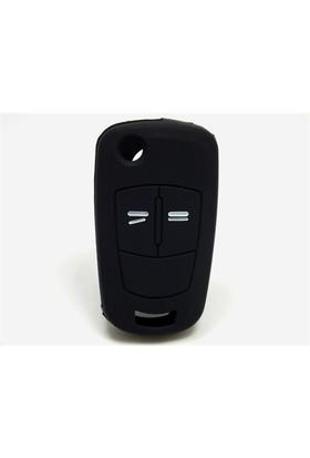 Opel Astra Kumanda Kabı Koruyucu Silikon Kılıf 2 Tuş (Siyah)