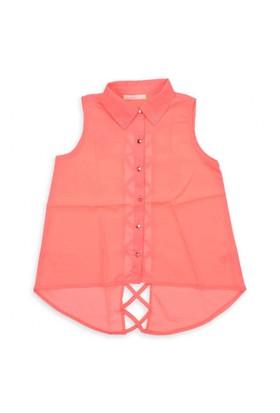 Modakids Nk Kids Kız Çocuk Arkası Çapraz Şeritli Gömlek 002-31734-006