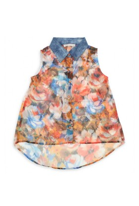 Modakids Nk Kids Kız Çocuk Yakası Kot Çiçekli Gömlek 002-31770-015