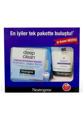 Neutrogena Deep Clean Makyaj Temizleme Mendili + El Kremi Seti