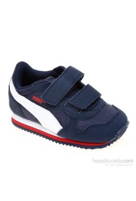 Puma St Runner V Kids Peacoat-White-High Risk Çocuk Spor Ayakkabı 21-27