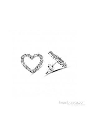 Aslaner Taşlı Kalp Gümüş Küpe