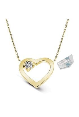 De Hari's Taşlı Kalp Gümüş Kolye