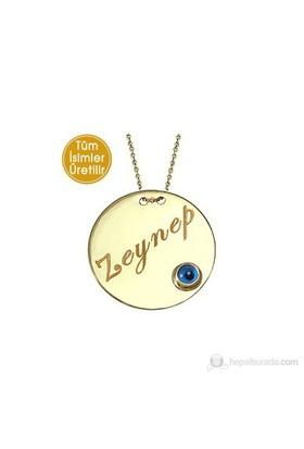Goldstore 14 Ayar Altın Madalyon Nazar Gözlü İsim Kolye GP16591