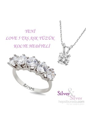 """Silver & Silver 5 ct. Zirkon Taşlı """"Aşk"""" Beştaş Yüzük"""