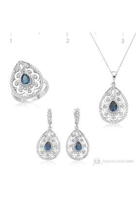 Tekbir Silver 925 Papatya Desenli Mavi Taşlı Damla Set ST1270087