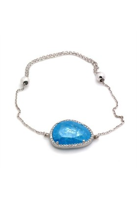 İndigo Takı Mavi Sedef Taşlı Gümüş Bileklik