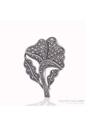 Tekbir Silver Gümüş Markazit Taşlı Yaprak Broş