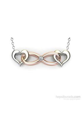 Jessini Pırlantalı İkili Kalp Gümüş Kolye