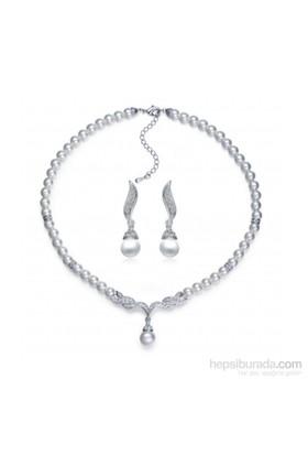 Modakedi Kristal Taşlı İnci Gümüş Gri Kadın Takı Seti