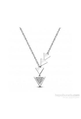 Aslaner 4'Lü Üçgen Tasarım Gümüş Kolye