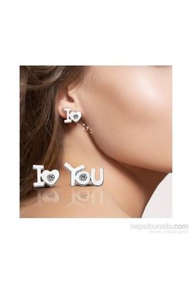 """Aslaner """"I Love You"""" Taşlı Küpe"""