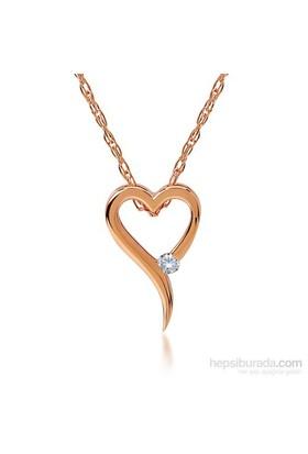 Divas Love Pırlantalı Kalp Pembe Altın Kolye