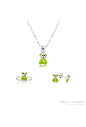 Olivin Accesories Gümüş Yeşil Ayıcık Çocuk Set 433223