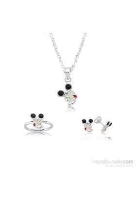 Olivin Accesories Gümüş Miki Mouse Çocuk Set 433225