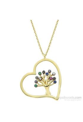 Mardeluz Altın Kalpli Hayat Ağacı Kolye