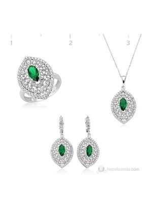 Tekbir Silver 925 Zirkon Yeşil Mekik Taşlı Hürrem Set Set ST1270098