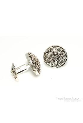 Nusrettaki 925 Ayar Gümüş Telkari Desenli Kol Düğmesi