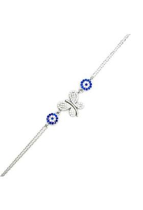 Beyazıt Takı 925 Ayar Gümüş Nazar Boncuklu Kelebek Bileklik