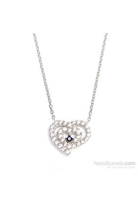 Nusrettaki 925 Ayar Gümüş İçiçe Kalp Kolye Beyaz - Beyaz Taş