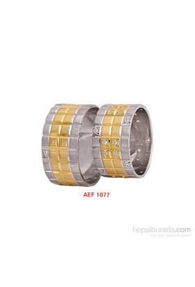 Arjuna Gümüş Tek Taş El İşi Çift Alyans Al1077