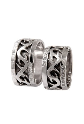 Arjuna Gümüş Tek Taş El İşi Çift Alyans Al0604